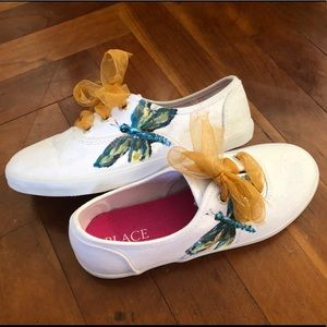 Hand painted dragonfly girls shoe size 13